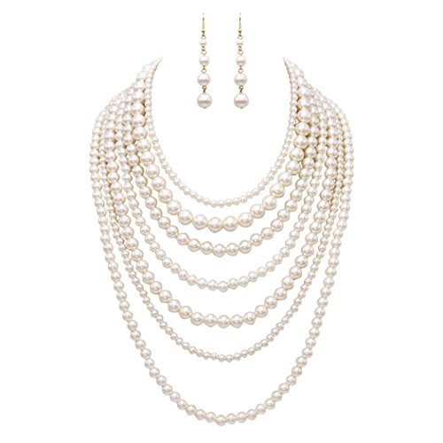 Rosemarie Collections Women's Fashion Jewelry Set Beaded Multi Strand Bib Necklace (Faux Pearl Multi Strand Necklace)