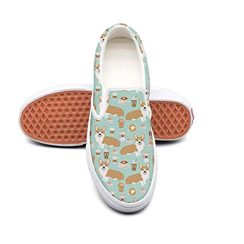 Feenfling Corgis and Coffee Womens Casual Slip on Low Top Canvas Skateboard Shoes by Feenfling