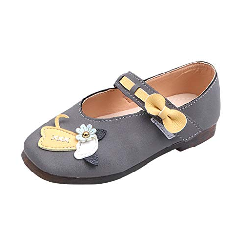 Tantisy ♣↭♣ Girl's Cute Leather Fun Sandals Toddler Flower Girl Dress Shoes School Party Mary Jane Shoes for Big Little Kids Gray
