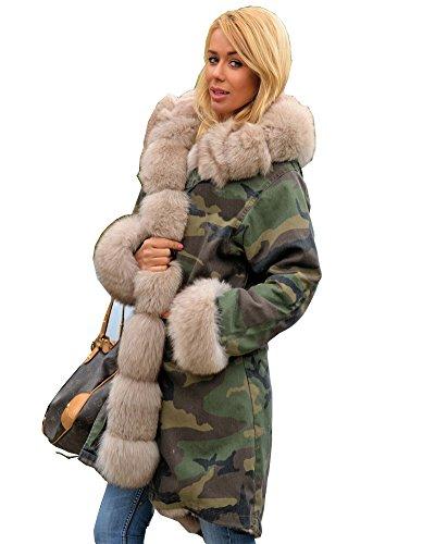 New Ladies Army Parka Coat Winter Warm Lined Fur Jacket Womens ...