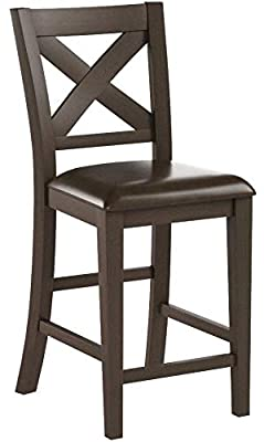 Steve Silver Crosspointe Counter Height Dining Chair - Set of 2 - Dark Espresso Cherry