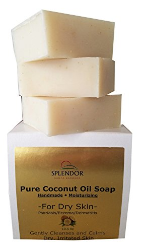 Moisturizing Pure Coconut Oil Soap for Dry, Irritated or Itchy Skin (10.5 oz) - Organic Ingredients For Psoriasis, Eczema and Dermatitis. Handmade, Vegan, 100% Natural (Oil Coconut Bar Soap)