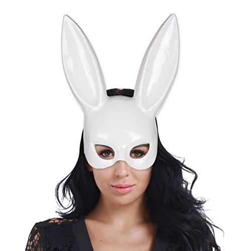 iiniim Women's Masquerade Rabbit Mask Adult Deluxe Sexy Bunny Half Mask White One Size -