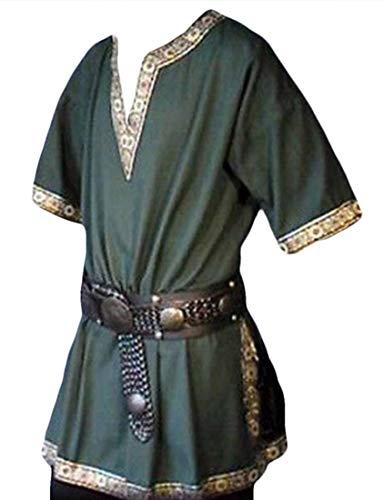 (Generic Men's Pirate Viking Short Sleeve V Neck Cosplay Tunic Shirt Renaissance Medieval Shirt Without Belt Green)