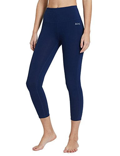 BALEAF Womens 23 High Waisted Yoga Capris Power Flex Workout 7/8 Length Leggings Inner Pocketed Navy Blue Size S