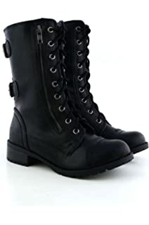 Amazon.com | DailyShoes Women's Military Combat Lace up Mid Calf ...