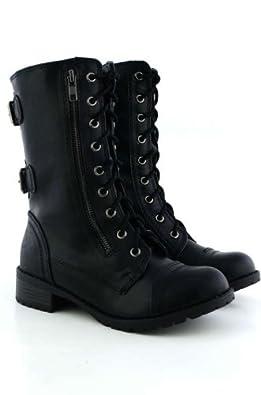 Amazon.com | SODA WOMENS DOME COMBAT BOOTS | Mid-Calf