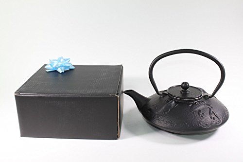 Japanese Antique 24 Fl Oz Black Fancy Carp Koi Fish Cast Iron Teapot Tetsubin with Infuser + Gift bow Cast Iron Prosperity Teapot