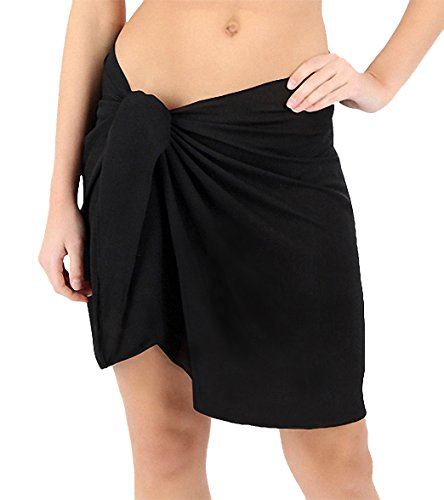 ChinFun Women's Sarong Wrap Beach Swimwear Non See Through Super Soft Nylon Knee Length Cover Up Pareo Wrap Skirt Swimsuit Solid Colors Black