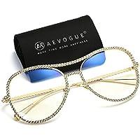 aevogue Aviator anteojos de sol Womens Rhinestone decoradas Marco anteojos de seguridad ae0470