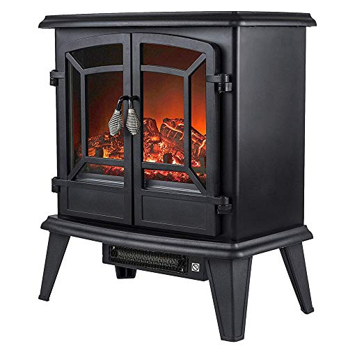 Cheap YXIUER Portable Electric Fireplace Stove Heater 1800W Freestanding Electric Vintage Fireplace with Openable Door Space Heater with 3D Realistic Flame and Logs (Black) Black Friday & Cyber Monday 2019