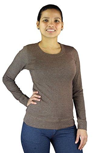 Camiseta Mujer con manga larga Suéter de Jersey Longsleeve de punto color gris negro rojo azul uni color marrón monocromo Braun
