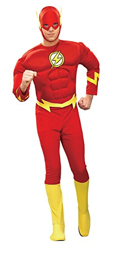(UHC Men's Flash Muscle Deluxe Marvel Justice League Of Batman Fancy Costume, X-Large)