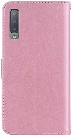 Zeebox® Galaxy A7 2018 ケース, PUレザー ケース 財布型 スタンド機能付き カバー マグネット開閉式 耐衝撃カバー, 可愛い フクロウシャイニークリスタルマグネットバックル 女性向 スマートフォンケース, ローズゴールド