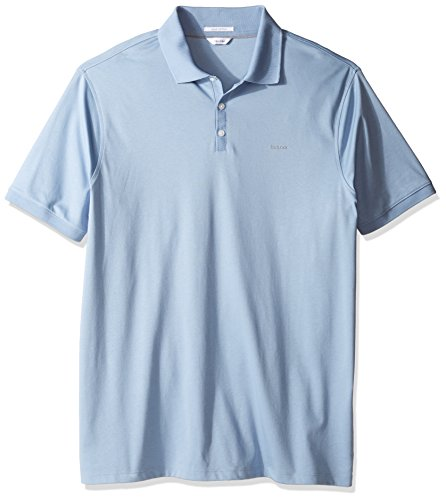 Calvin Klein Mens Big And Tall Liquid Cotton Short Sleeve Polo Shirt  Pacific  2X Large T
