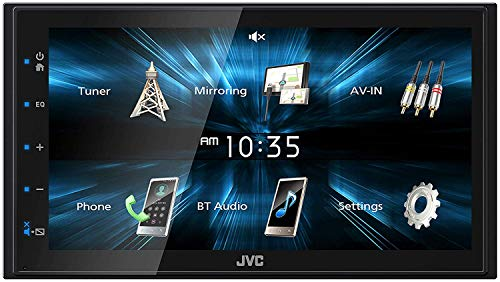 JVC KW-M150BT Digital Media Receiver featuring 6.8 WVGA Capacitive Monitor with Backup Camera Gravity Magnet Phone Holder