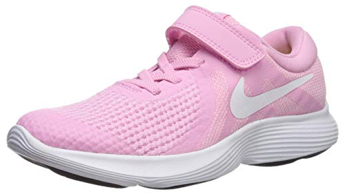 - Nike Girls' Revolution 4 (PSV) Running Shoe, Rise/White-Pink Foam-Black, 3Y Regular US Little Kid