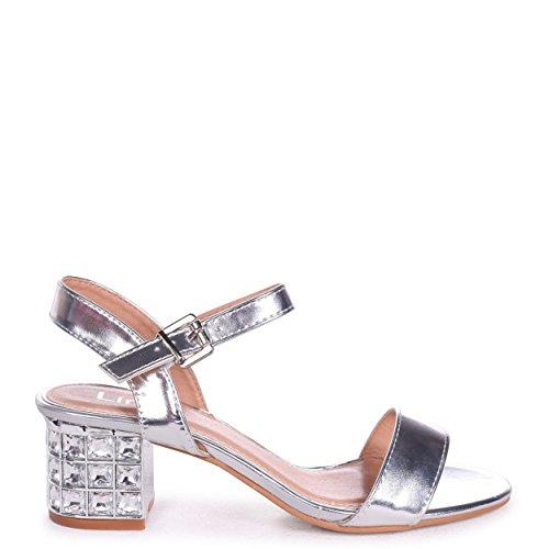 Linzi Missy - Silver Metallic Mid Heel with Diamante Block Heel Silver gZYcHDyO