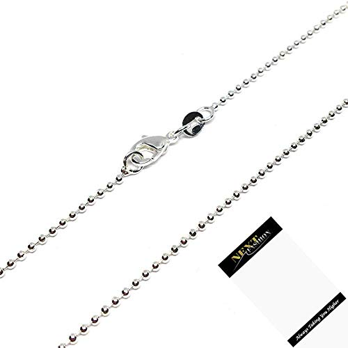 925 Sterling Silver Plated Ball Chain 1mm Jewelry Necklace (26