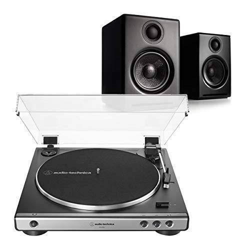 Audioengine A2+ Premium Powered Wireless Desktop Speakers (Black) with Audio-Technica AT-LP60X-GM Fully Automatic Belt-Drive Stereo Turntable (Gunmetal/Black)