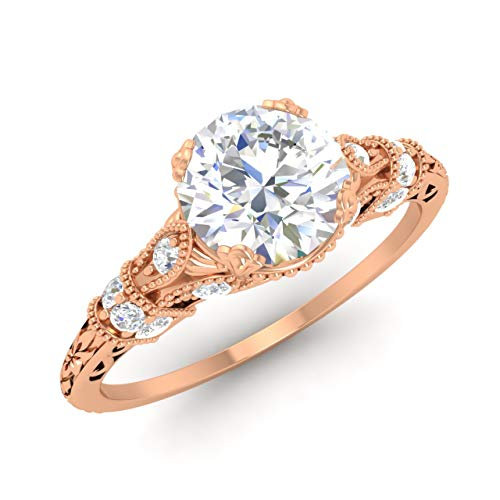 Diamondere Certified Moissanite and Diamond Engagement Ring in 14K Rose Gold | 1.11 Carat Art Deco Engagement Ring for Women, US Size 5.5