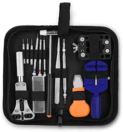 GHB Watch Repair Tool Kit Case Portable Watch Back Removing Tool with a Hammer Watch Fixing Tool