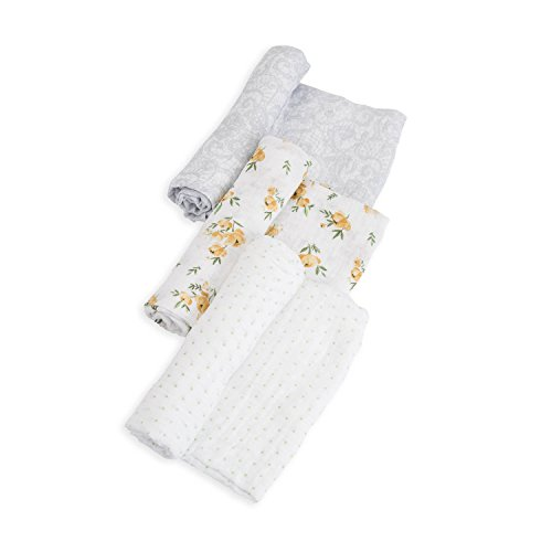 """Little Unicorn Cotton Muslin Swaddle 3 Pack Set - 47""""x 47""""- 100% Cotton – Machine Washable – Softer with Every Wash – Playful Designs -Soft, Breathable & Lightweight – for Boys & Girls (Yellow Roses)"""