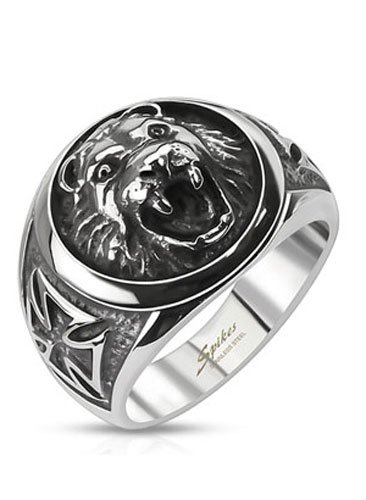 (Stainless Steel Roaring Lion Head Shield with Celtic Cross Side View Wide Cast Ring, Width 17MM - Crazy2Shop)
