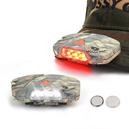 MOSSY OAK Cap Hat Light, 8 LED Rotatable Hands-Free Clip-on Hat Light, Lightweight Ball Cap Visor light, 2 Pack, 3 Modes - for Dog Walking, Running, Reading, Camping, Fishing -