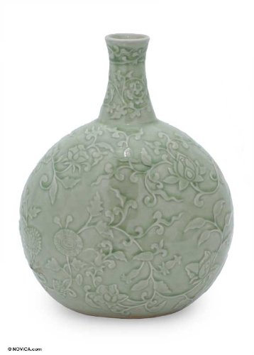 Amazon Novica Floral Ceramic Vase Green Exotic Flora Home
