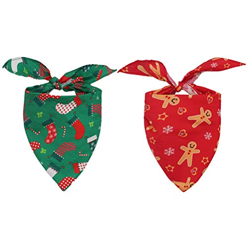 KOOLTAIL 2 Pack Christmas Dog Bandanas Pet Scarfs Cute Triangle Bibs for Puppy Cats