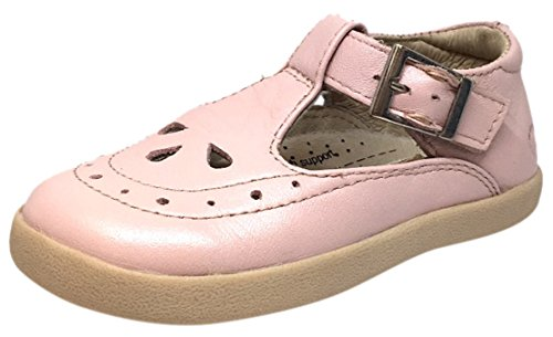Powder Pink Kids Shoes (Old Soles Girl's Tea Shoe Leather T Strap Buckle Mary Jane Shoe (29 M EU/12 M US Little Kid, Powder)