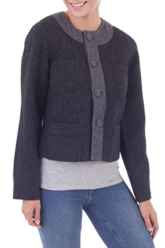 NOVICA Black and Grey 100% Baby Alpaca Reversible Jacket, TYROLEAN Charcoal' Baby Alpaca Jacket