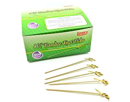 """Gmark Bamboo Cocktail Picks 4.5"""" 300 ct - Bamboo Knot Skewers, Looped Knot Twisted Ends Perfect for Cocktail Party, Barbeque, Club Sandwiches - Pack in Box GM1114"""