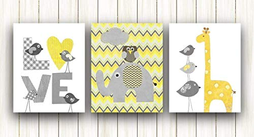 Yellow and Gray Chevron Baby Nursery Wall Art - Kids room decor - Set of three prints - Elephant Giraffe Birds Love (Baby Decor Yellow)