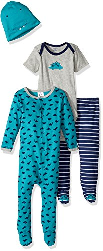 Set Footed (Gerber Baby Boy 4 Piece Sleep 'n Play, Onesies, Footed Pant and Cap Set, Dinosaur, 6-9 Months)