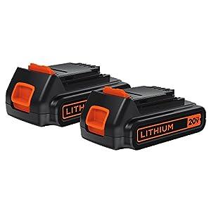 BLACK+DECKER LBXR20-OPE2 2-Pack Max Lithium Ion Battery, 20-Volt