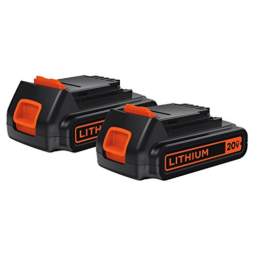 BLACK+DECKER 20V MAX Lithium Battery 1.5 Amp Hour, 2-Pack (LBXR20-OPE2)