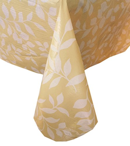 Tonal Leaf Pattern Indoor/Outdoor Flannel Backed Vinyl Tablecloth - 60