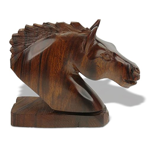 - Sunland Artisans 6in Long Horse Head Ironwood Art Carving - Western Decor