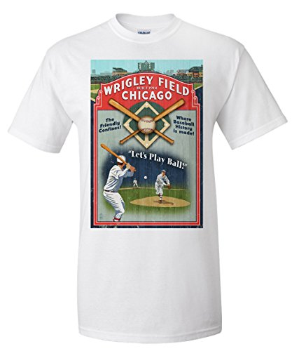 chicago-illinois-wrigley-field-vintage-sign-white-t-shirt-x-large