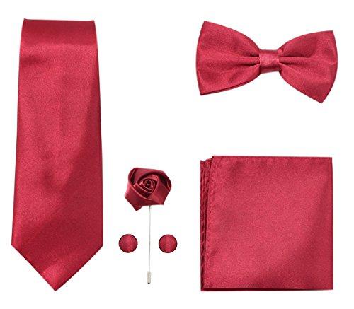 JAIFEI Men's 5-Piece Necktie Set: Deluxe Necktie + Bowtie + Pair Of Cufflinks + Lapel Pin + Pocket Square Handkerchief For Birthday, Wedding, Anniversary (Burgundy) (Pocket Red Handkerchief)