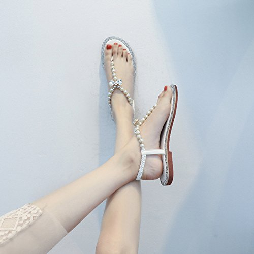 YRE Pour Femmes Chaussures Bohême Dames T Femmes Appartements Strap Flops White Sandales Plage Baignade Strass Élastique Chaussures Wy1rcTyR