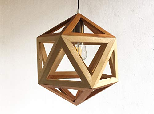 MEGACLITE suspension or table lamp, in ash and walnut or cherry wood, icosahedron shape ()