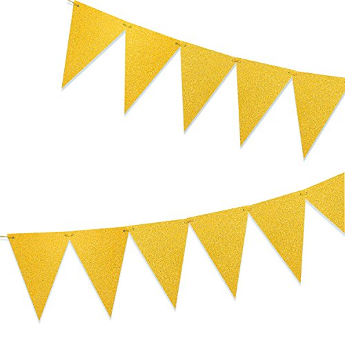 Paper Pennant Bunting Banner Garland - Sparkly Triangle Flags for Home Wall Decoration, Bachelorette Party Backdrop Props, Wedding, Baby Shower, 15 pcs, Glitter Gold (Paper Banners)
