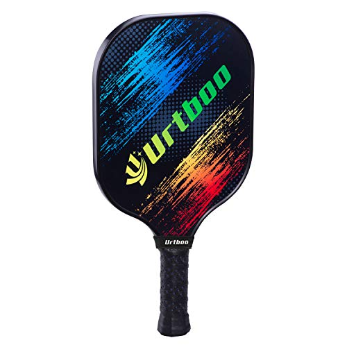 (Urtboo Pickleball Paddle, Graphite Face Honeycomb Composite Core Low Edge Guard Premium Grip Light Weight 7oz-8 OZ Pickleball Racket Good Choice for Beginner&Pro (Blue+Yellow) ¡)