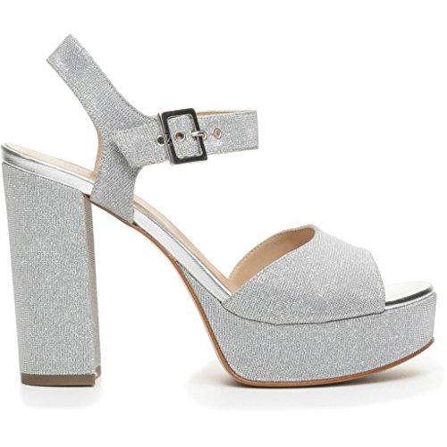 Nero Giardini donna sandali argento (Ghiaccio) P717861D scarpe in pelle estate 2017, 37