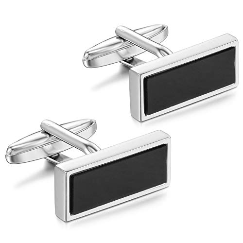 MOWOM Silver Tone Black 2PCS Rhodium Plated Cufflinks Rectangular Shirt Wedding Business