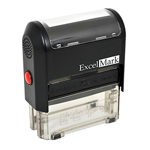 ExcelMark 5-Line Large Return Address Stamp - Custom Self Inking Rubber Stamp - Customize Online with Many Font Choices - Large Size (Stamp (Custom Rubber Stamp Blue Ink)
