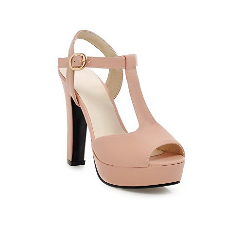 High Womens AmoonyFashion Heels Peep Heeled PU Sandals Toe Solid Buckle Pink tqHHw